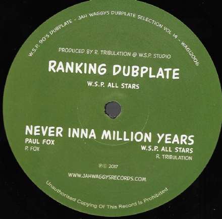 W.S.P. ALL STARS - Ranking Dubplate / Dub /  Paul Fox - Never Inna Million Years  (Jah Waggys) 12""